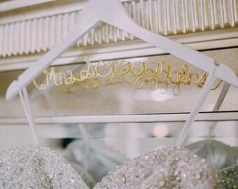 Bridal Hanger one Line, Custom Bridal Hanger, Brides Hanger, Name, Wedding Hanger, Wedding Dress Hanger, Shower