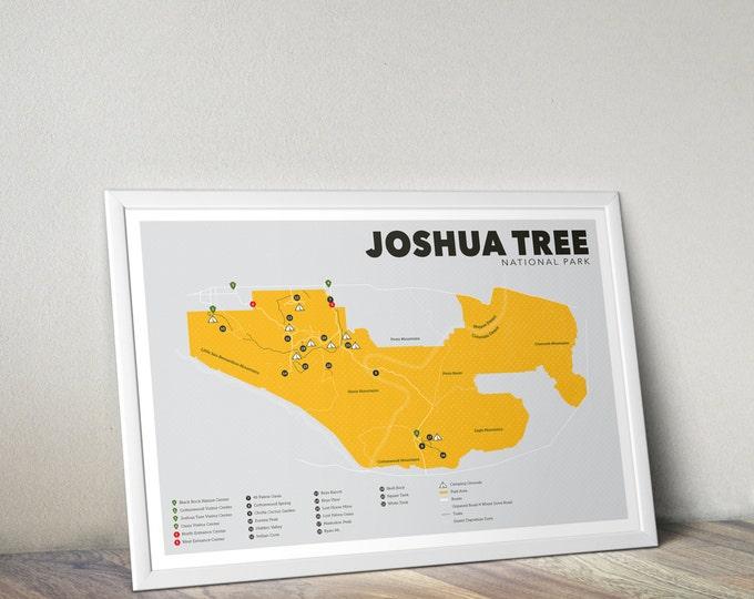 Joshua Tree National Park Map, Joshua Tree, Outdoors print, Explorer Wall Print