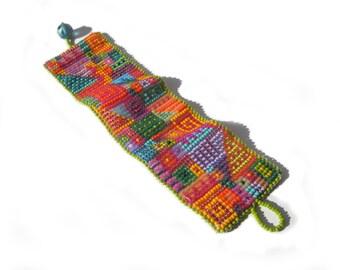 Summertime - Multicolor Wide Beadwoven Cuff Bracelet - Unique Gift - Wearable Art
