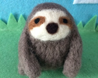 Sloth Needle Felted Handmade wool made to order