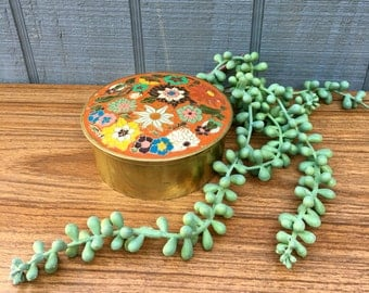 Cloisonne, Box, Round, Floral, India, Rust, Green, Yellow, Made in India