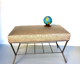 Mid-Century Vinyl Topped Ottoman with Metal Legs