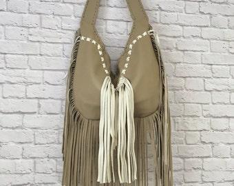 Leather Fringe Hobo Bag / Tan Leather Hobo Bag / Leather Hobo Bag / Fringe Leather Purse / Western Leather Bag / Frined Leather Purse