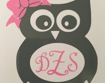 Adorable Owl Monogram decal for car, truck, yeti cup, phone, lap top, etc. Your choice of size, font and color