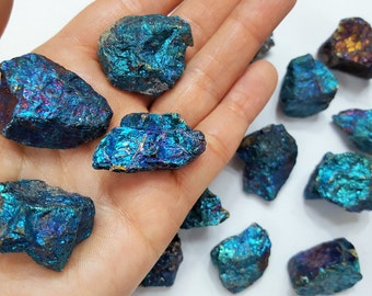 Natural Peacock Ore Stones, Raw Blue Stones, Jewelry Supplies, Semi Precious Stones, Chalcopyrite Stones, Bright Blue Stone Specimen