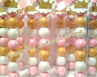 12CT.  Pink, white & gold princess shimmer gumball favors. Baby showers , princess, 1st birthday , party decor.