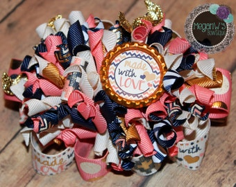 Hair bow, Made with love funky loopy bow, French barrette
