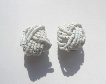 1960s White Seed Bead Knot Earrings | clip on