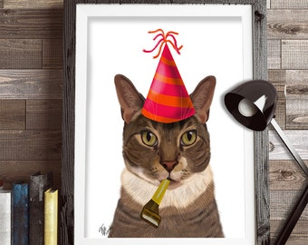 Tabby cat art - party cat - tabby cat print tabby cat painting cat in party hat cute cat illustration funny cat picture gift for cat lover
