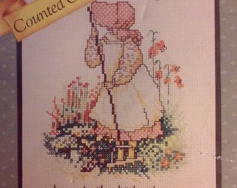 """On Sale Vintage Distlefink Designs """"Holly Hobbie"""" Counted Cross Stitch Kit, """"Love is the little things you do"""", Kit #55209, 9 x 12"""", New & S"""
