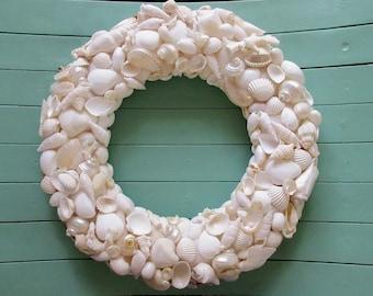 White Shell Wreath, Seashell Wreath, Beach Wedding Decor, Coastal Wreath, Sea Shell Wreath, Beach House Decor