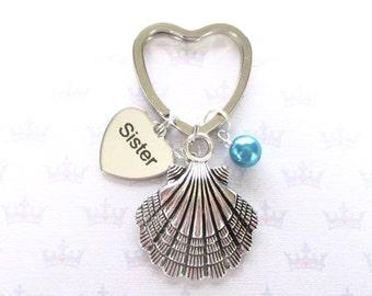 Mermaid keychain for sister - Seashell keyring with hidden mermaid - Sister birthday - Mermaid keyring - Sister gift - Clam shell keyring