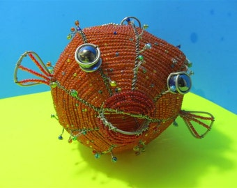 Blow Fish Glass Beaded African Street Art Style Sculpture Figurine  Collectible Collector Hand Made