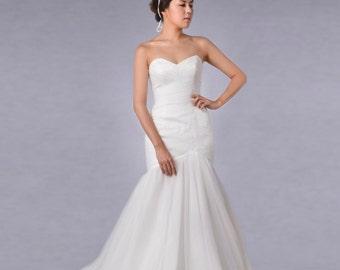 Free shipping,Bridal gown,Chiffon Wedding dress,Mermaid dress,Wedding gown,simple wedding dress,Ordermade,by AYASOPHIA Bridal