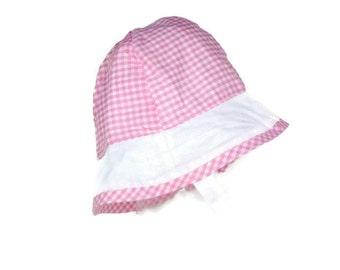 Spring girls hat, sun hat for girls, 12-36 months, girls brimmed hat, girls beach hat, girls pink hat, chinstrap hat, pink gingham hat