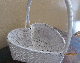 Large vintage heart shapped white basket card holder favor holder