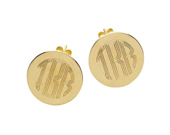 Personalized Monogram Gold Round Post Earrings