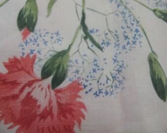 Mid century Cotton tablecloth Floral tablecloth Large cotton tablecloth Linen 1950 Farmhouse Summer Tablecloth