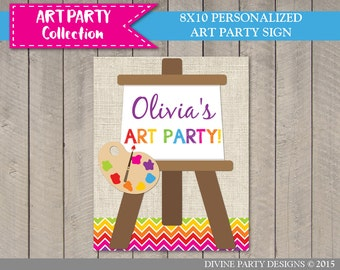 PERSONALIZED Printable 8x10 Art Party Welcome Sign / Personalized with Name / Painting / Art Party Collection / Item #2804
