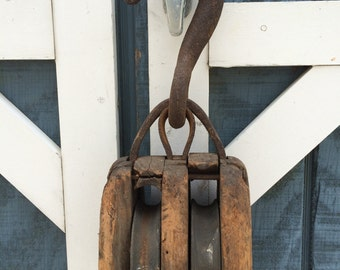 Rustic 2 Wheel Pulley Barn Find