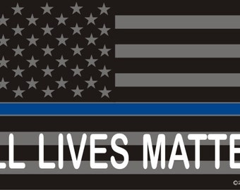 """4"""" All Lives Matter Thin Blue Line Flag Decal SKU: D652-0002"""