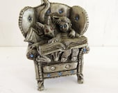 Sunglo Pewter Boy and his Dragon Reading a book- Myths and Magic Vintage Pewter with Rhinestones  Denicolo 1994