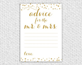 Advice for the Mr. & Mrs. Printable Card, Printable Advice Card, Bridal Shower Game, Confetti, Advice for the Bride