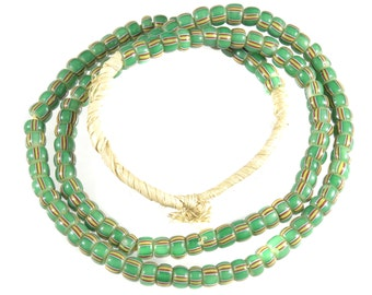 Antique Venetian Old drawn green stripe glass African trade beads