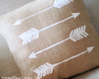 Burlap Pillow with Distressed Arrows-Rustic Pillow- Nursery or Home Decor