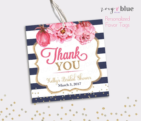 Peony Bridal Shower Favor Tag Floral Baby Shower Thank