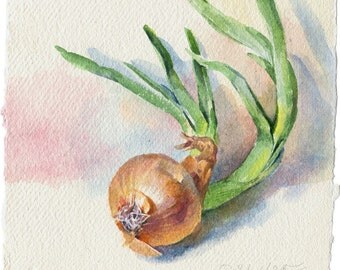 Watercolor vegetable painting - green onion painting for kitchen, original, paper