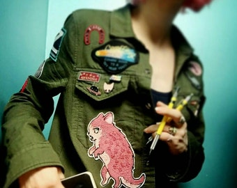 Limited Edition collab with Mab Graves  CHAIN STITCH 'Dino Kitty' PATCH