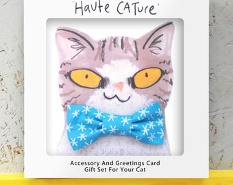 Christmas Cat Gift Set - Snowflake bowtie and matching collar