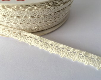 5 Metres of 10mm Crotchet Cotton Scalloped Lace - Ivory Cream