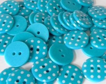 10 x 18mm Turquoise Polka Dot Buttons
