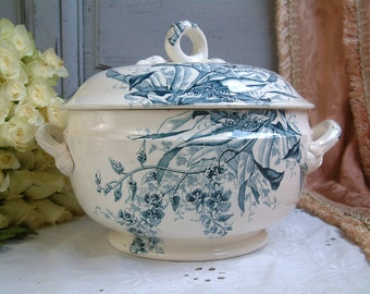 Antique french transferware tureen. Teal transferware. Blue green transferware. Antique ironstone large tureen. French cottage chic