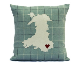 Welsh Cushion , Map of Wales,  Welsh Map Pillow