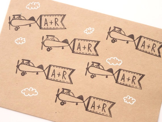 Personalized Rubber Stamps For Wedding Invitations: Initial Airplane Rubber Stamp Wedding Invitation Custom