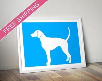 American Foxhound Print - American Foxhound Silhouette, dog art, modern dog home decor
