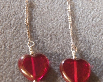 Vintage Sterling Silver and Red Glass Heart Earrings, So Romantic & Charming!~~    **RL