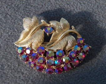 Vintage Gold Tone Floral and Leaf Pin Brooch Set with Aurora Borealis Rhinestones Jewelry **RL