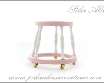 Baby walker for nursery room, 12th escale for dollhouse. One inch scale.