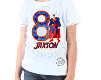 Superman 8th Birthday Iron-on T-shirt- Custom color shirts available!
