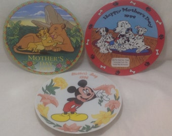 Mothers Day Disney Grolier (3) Collector Plates 1990's Lion King Mickey Dalmatians