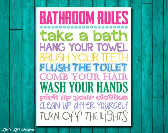 Bathroom rules girls bathroom decor girls bathroom wall art for Bathroom decor rules