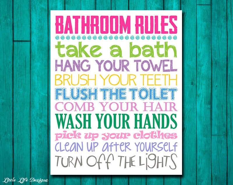 Bathroom Rules bathroom rules. girls bathroom decor. girls bathroom wall art.