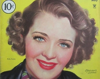 Original May 1935 Ruby Keeler Silver Screen Magazine Cover By Marland Stone - Hollywood's Golden Age