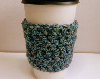 Coffee Cup Sleeve Cozy Take Out Coffee Cup Sleeve Blue Coffee Cup Sleeve Blue Take Out Cup Cozy Crocheted Coffee Cup Cozy Hand Made