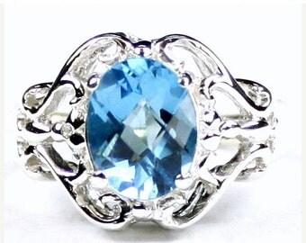 Summer Sale, 30% Off, SR169, Swiss Blue Topaz, 925 Sterling Silver Ring