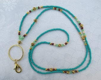 Turquoise with Green, Brown, Cream and Gold Lanyard. Handmade Beaded ID Badge Holder. Necklace ID Holder. Crystal and Glass beads lanyard.